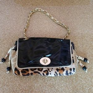 Bebe patent and leopard shoulder bag